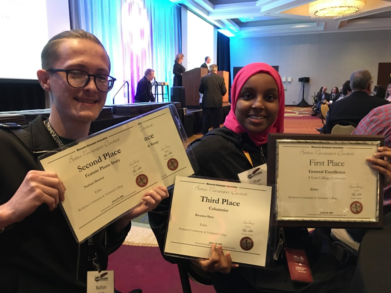 Nathan Hoover and Ilhan Raage represented The Echo on Jan. 30 at the 2020 Minnesota Newspaper Association annual awards ceremony, where The Echo placed first in General Excellence ahead of four-year university newspapers.